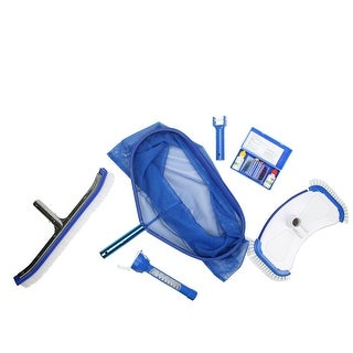 5-Piece Deluxe Swimming Pool Kit - Vacuum, Leaf Rake, Brush, Thermometer and Test Kit - Blue