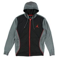 Nike Mens Flight Hooded Dri Fit Sweatshirt Cool Grey - cool grey/black/infrared - L