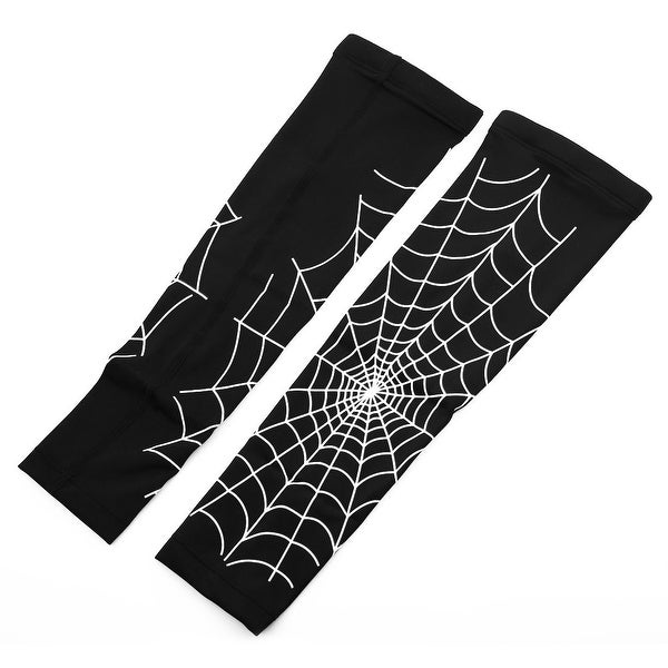 Cobweb Print Outdoor Elbow Wrap Sun Arm Sleeves Support Protector Black L Pair
