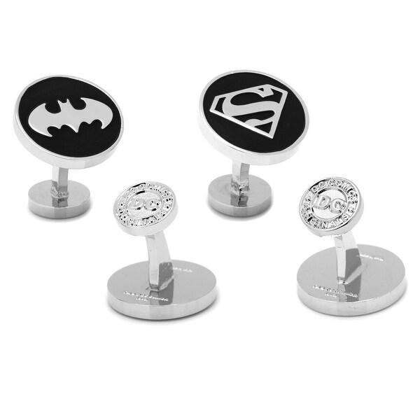 Silver Matte Black Batman and Superman Cufflinks Set