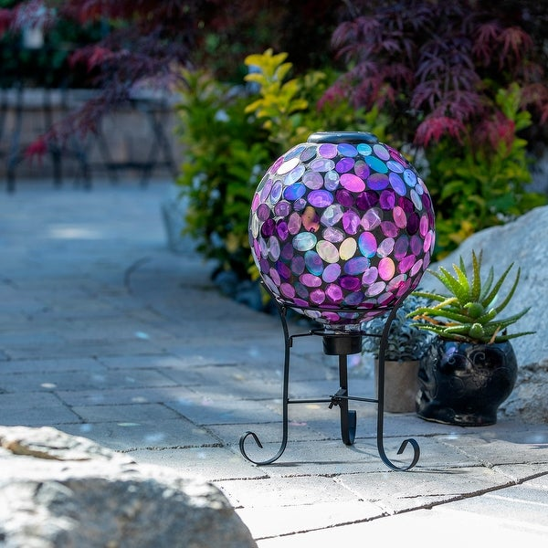 Alpine Corporation Outdoor Solar Powered Pink Glass Mosaic Gazing Globe with LED Lights and Metal Stand, Violet. Opens flyout.