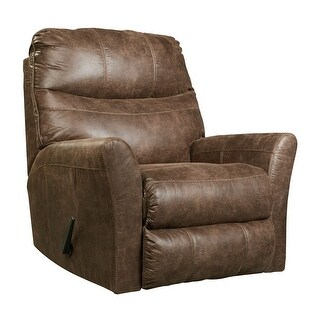Offex Signature Design by Ashley Tullos Rocker Recliner in Coffee Faux Leather