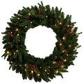 "Celebrations FCFFWR-30-BOWW Prelit Christmas Wreath, 30"", Green - Thumbnail 0"