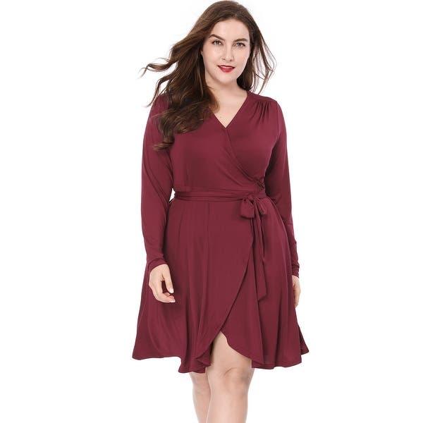 Unique Bargains Women Plus Size Crossover V-Neck Belted Tulip Hem Wrap  Dress - Red