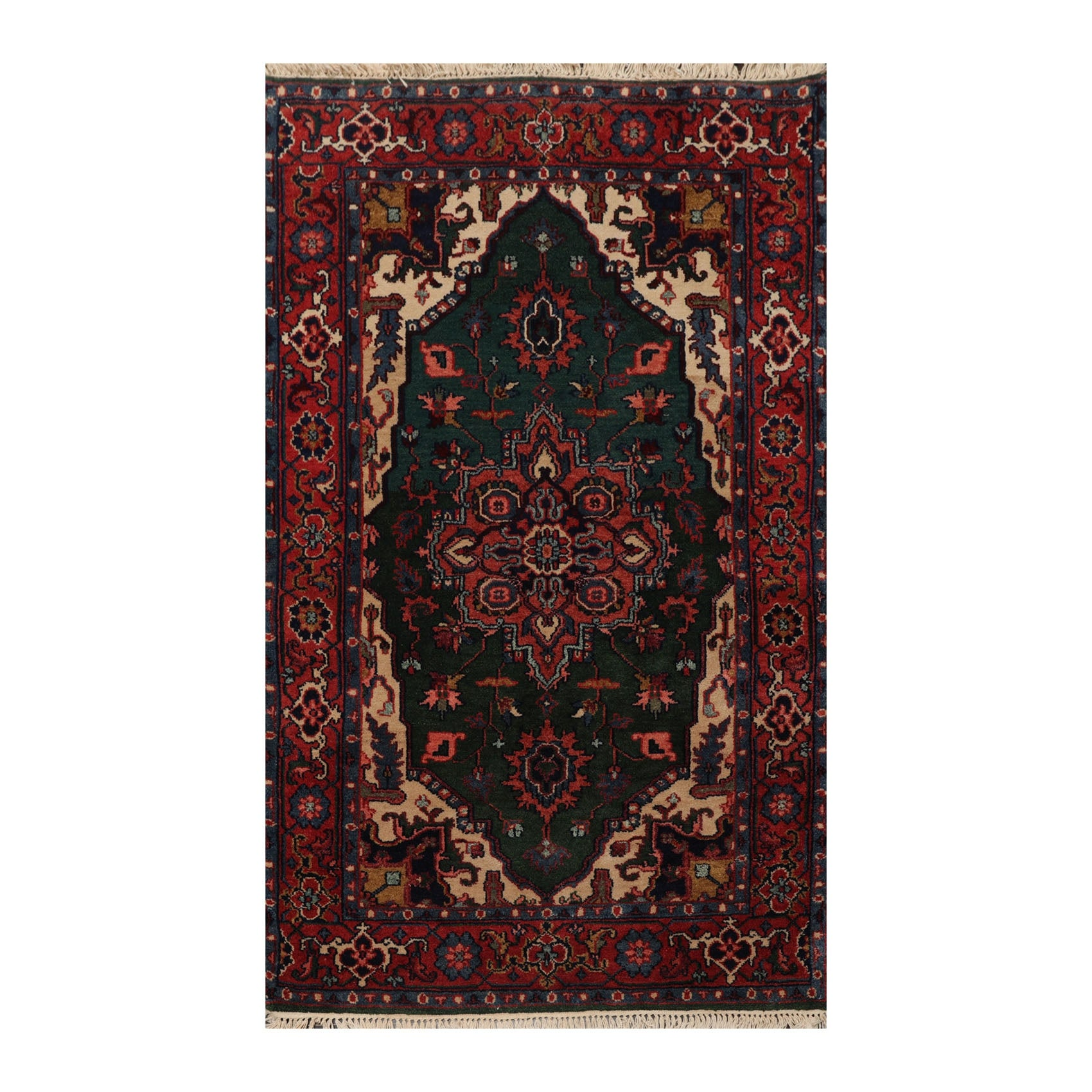 Hand Knotted Heriz Emerald Rust Persian Wool Traditional Oriental Area Rug 4x6 4 3 X 6 1 Overstock 33213401