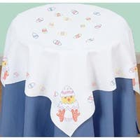 """Easter - Stamped White Perle Edge Table Topper 35""""X35"""""""