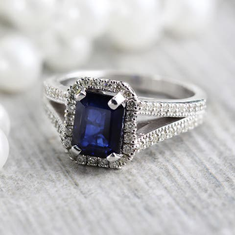 Auriya 18k Gold 2ct Vintage Emerald-cut Sapphire Halo Diamond Engagement Ring 1/2ctw