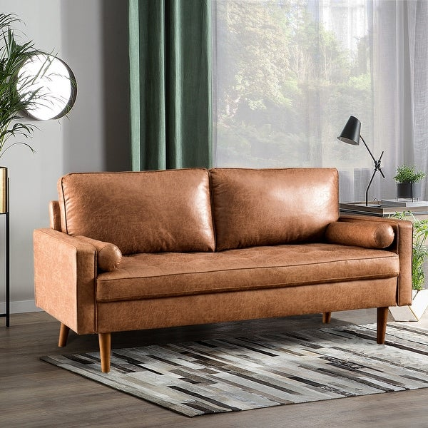 VIATOL Mid-Century Top-Grain SUEDE Leather Deep Seat Sofa With Cushions Wood Legs. Opens flyout.