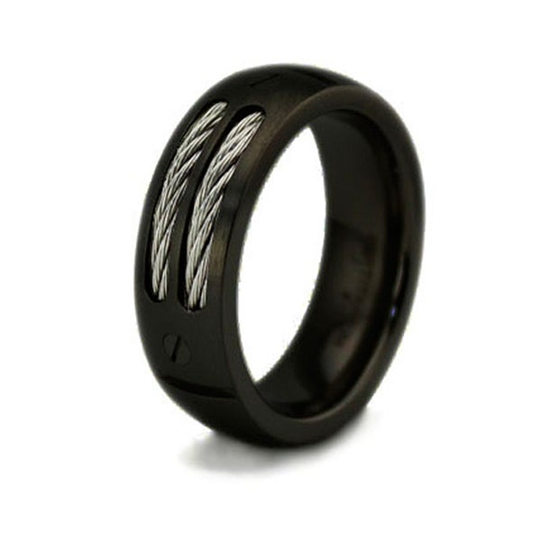 Black Titanium Ring w/ Dual Cable Inlay