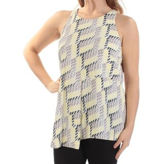 ALFANI $79 Womens New 1301 Yellow Gray Geometric Sleeveless Top 10 B+B
