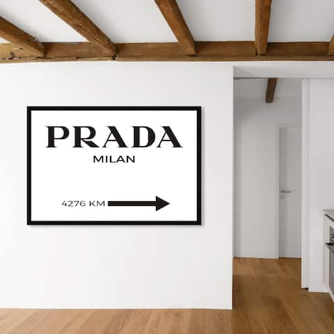 Oliver Gal 'Milan Minimalist' Fashion and Glam Framed Wall Art Prints Road Signs - Black, White