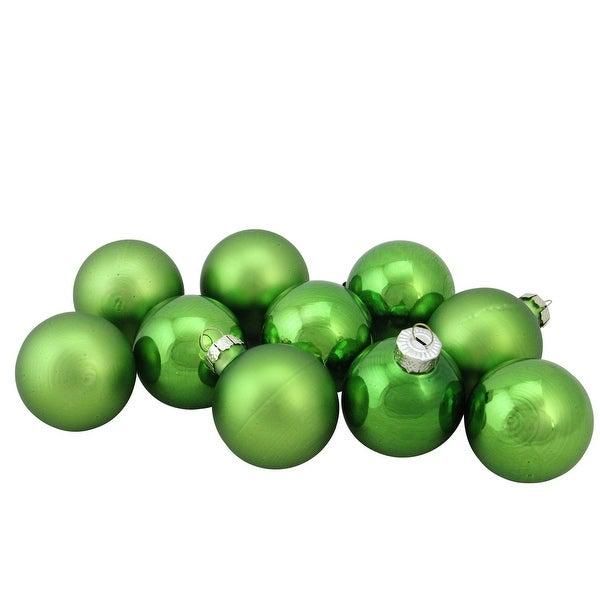 "10-Piece Shiny and Matte Grass Green Glass Ball Christmas Ornament Set 1.75"" (45mm)"