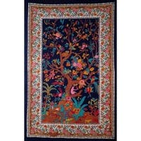 Handmade Cotton Tree of Life Tapestry Tablecloth Spread Twin Full 70x104 Black Multicolor