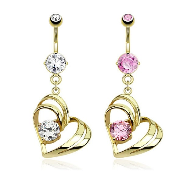 Single Pronged Gem in Hollow Heart Dangle gold-plated Navel Belly Button Ring
