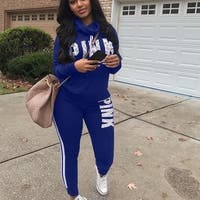 Fashion 2 Pieces Women Tracksuit Hoodies Sweatshirt Pants Set Lounge Wear Sport Suit