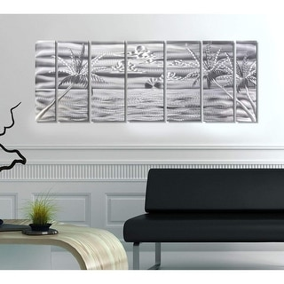 Statements2000 Silver Tropical Metal Wall Art Panels Beach Ocean Decor by Jon Allen - Castaway