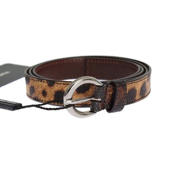 Dolce & Gabbana Brown Leopard Print Silver Buckle Belt - 90-cm-36-inches