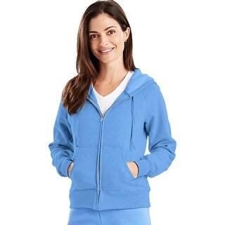 Hanes EcoSmart® Cotton-Rich Full-Zip Hoodie Women's Sweatshirt - Size - 3XL - Color - Carolina Blue