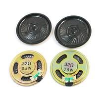 Unique Bargains 4 Pcs 0.5W 32 Ohm 40mm Dia Round Metal Internal Magnet Mini Speaker