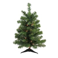 2' Pre-Lit Canadian Pine Artificial Christmas Tree - Clear Lights - green