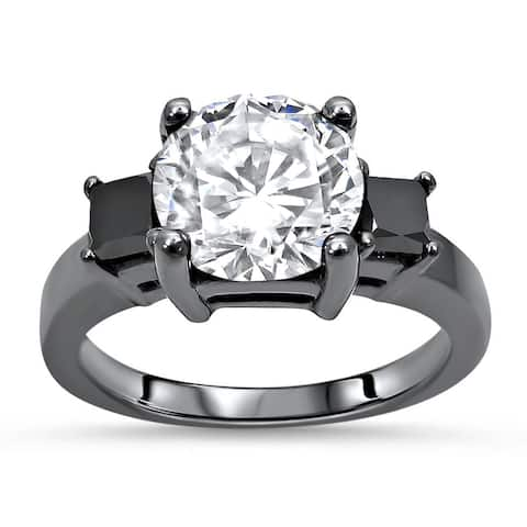 14k Black Gold Plating 1.65ct Round Moissanite & 3/5ct Black Diamond Three Stone Engagement Ring