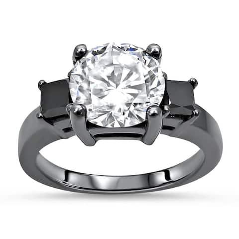 14k Black Gold Plating 2.0ct Round Moissanite & 3/5ct Black Diamond Three Stone Engagement Ring