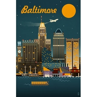 Baltimore, Maryland - Retro Skyline - Lantern Press Artwork (Playing Card Deck - 52 Card Poker Size with Jokers)
