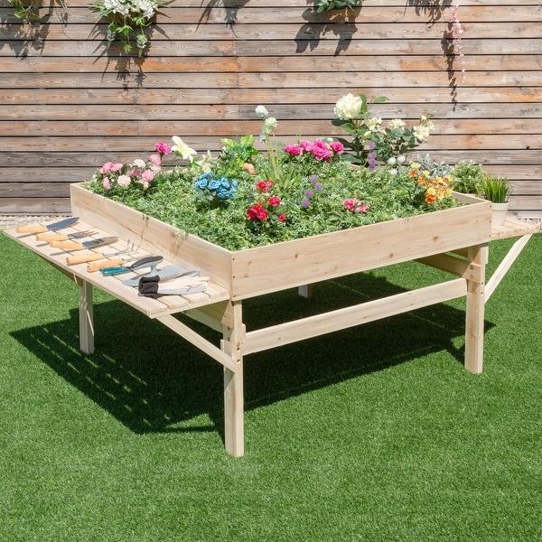 Shop Costway Wood Garden Raised Bed Plant Planter Flower