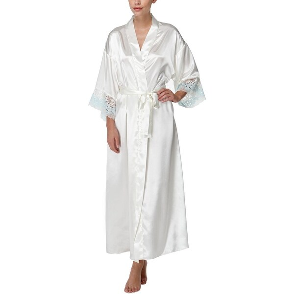Shop Flora by Flora Nikrooz Womens Wrap Robe Satin Lace Trim - S M - Free  Shipping On Orders Over  45 - Overstock - 22581635 27b8790ff
