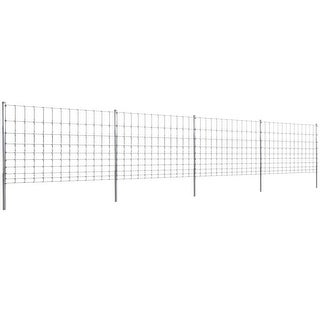 vidaXL Step-In Fence 164' with Posts Galvanized Wire 47.2/10/11.8
