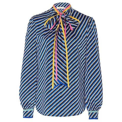 Tory Burch Womens Striped Contrast Blouse Blue
