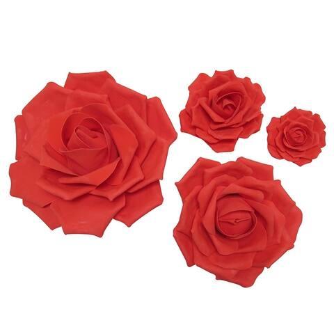 Set of 4 Large Foam Rose Flower Wall Decor Art Backdrop