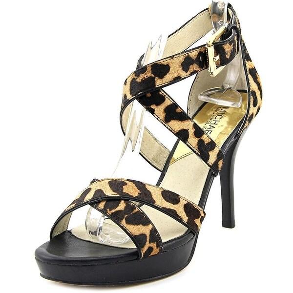 Michael Kors Womens EVIE PLATFORM Calf Hair Open Toe Casual Ankle Strap Sandals