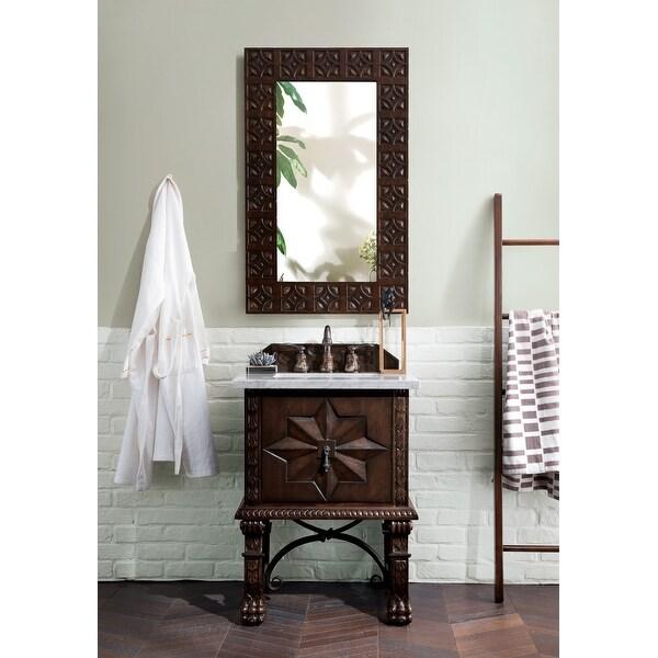 "Balmoral 26"" Single Vanity Cabinet, Antique Walnut. Opens flyout."
