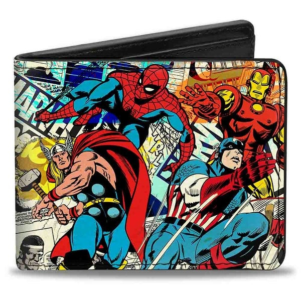 Marvel Comics 4 Retro Avenger Superhero Action Poses Marvel Comics Logo Bi-Fold Wallet - One Size Fits most