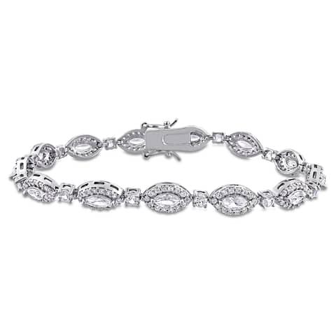 9 1/2ct TGW Multi-Cut Created White Sapphire Tennis Bracelet in Sterling Silver by Miadora - 7 in x 6.7 mm x 3 mm