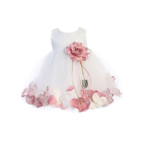 Kids Dream Baby Girl White Rose Sequin Petal Floating Flower Girl Dress 6-24M