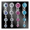 "Navel Belly Button Ring with Top-Drop 4-Vertical CZ - 14GA 3/8"" Long (Sold Ind.) - Thumbnail 0"