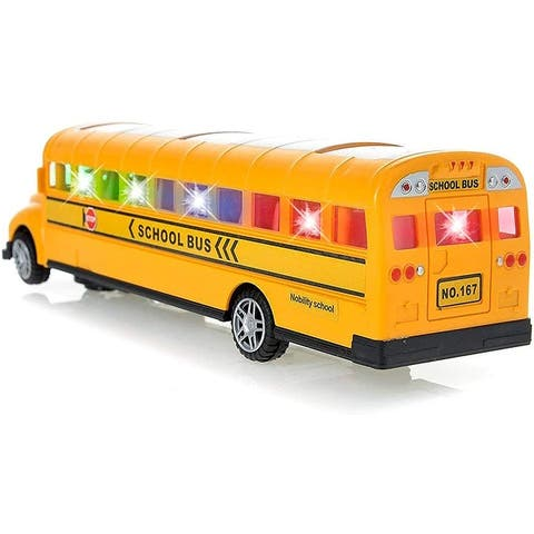 Wonderplay Bus School Bus Toy with Beautiful Attractive Flashing Lights and Sounds , Bump and Go Action
