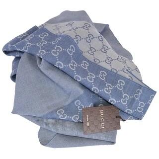 "Gucci 344994 100% Wool Blue Reversible GG Guccissima Scarf Muffler - 70"" x 15"""