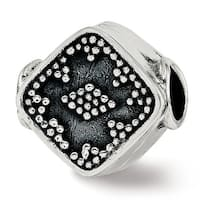 Sterling Silver Reflections Antiqued Diamond Shape Bali Bead (4.5mm Diameter Hole)
