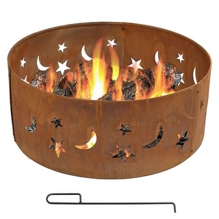 Sunnydaze 30 Inch Rustic Stars and Moons Fire Pit Ring - Options Available