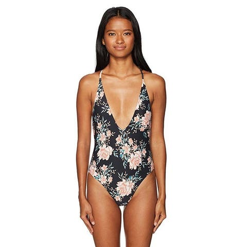 Billabong Women's Let It Bloom One Piece Swimsuit, Black Sands, L