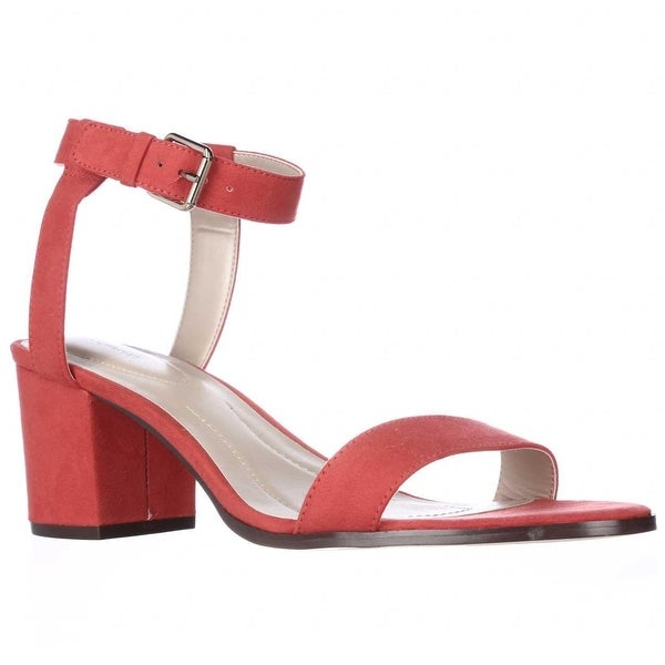 SC35 Mullaney Studded Ankle Strap Dress Sandals, Coral