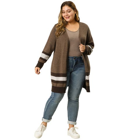 Women's Plus Size Striped Open Front Sweater Cardigan