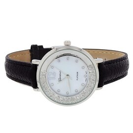 Designer Womens Watch Floating Simulated Diamonds Black Leather Band Classy New Look