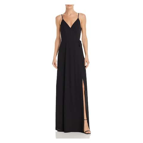 WAYF Womens Black Spaghetti Strap Full-Length Sheath Dress Size L
