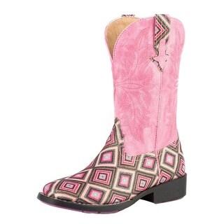 Roper Western Boots Girls Glitter Gal Stitch Pink