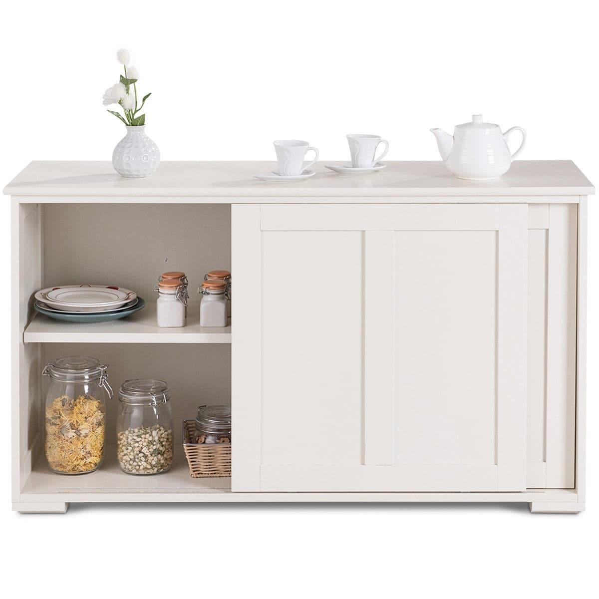 Costway Kitchen Storage Cabinet Sideboard Buffet Cupboard Wood Sliding Door Pantry