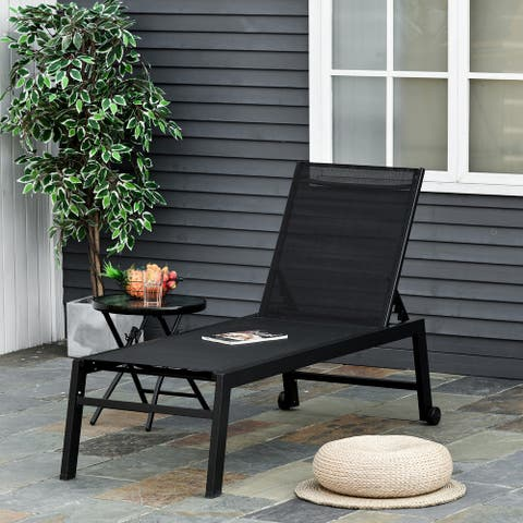 Outsunny Patio Garden Sun Chaise Lounge Chair with 5-Position Backrest, 2 Back Wheels, & Industrial Design